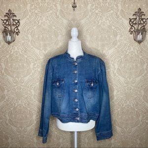 Cato Nehru Collar Blue Jean Crop Jacket